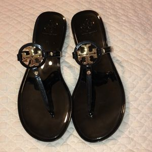 Tory Burch Minnie Miller black jelly sandals 7